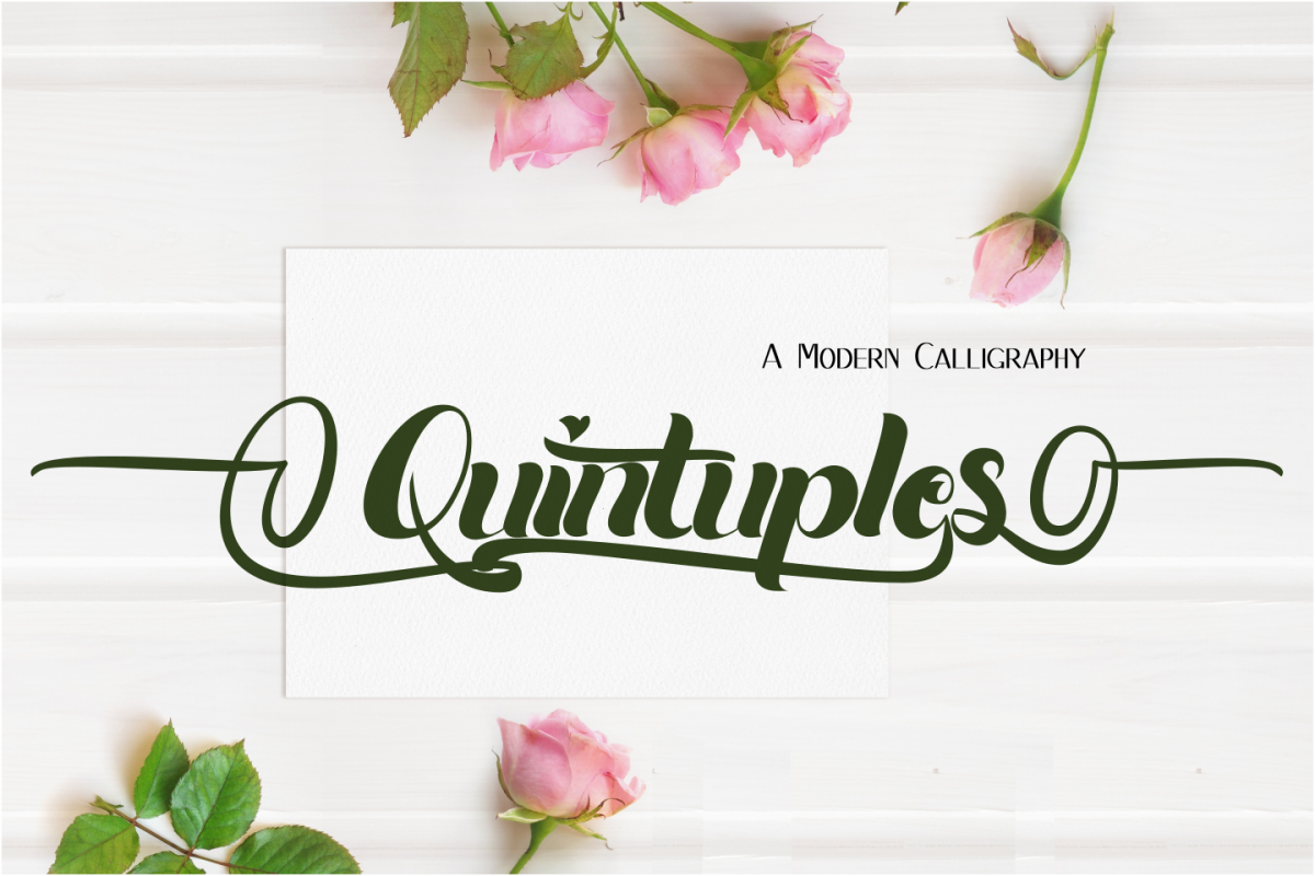Quintuples Modern Calligraphy example image 1