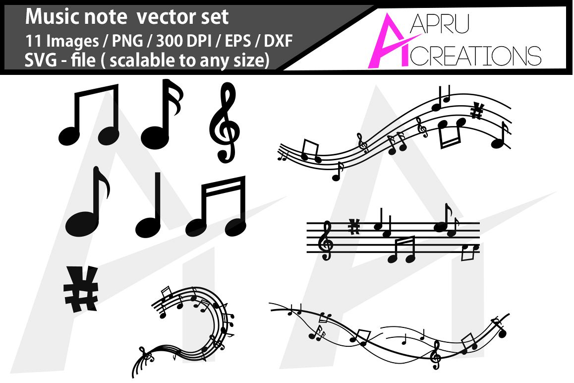 music note svg/ music note silhouette example image 1