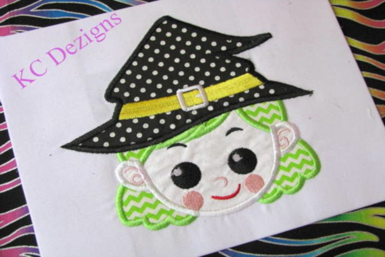 Witchy Halloween Girl Machine Applique Embroidery Design example image 1