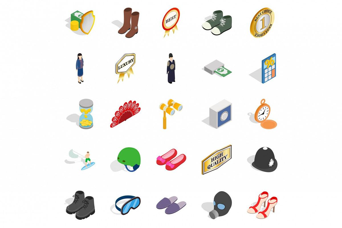 Clothing accessories icons set, isometric style example image 1