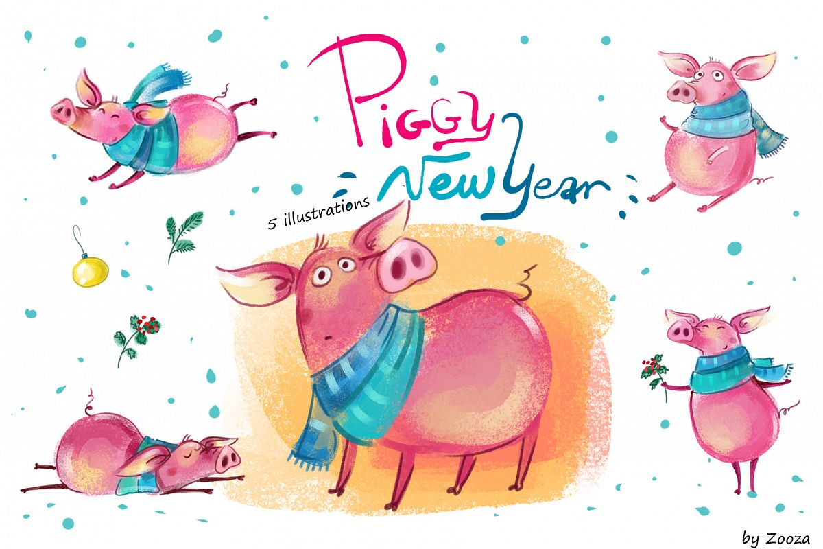 Piggy New Year - illustrations example image 1