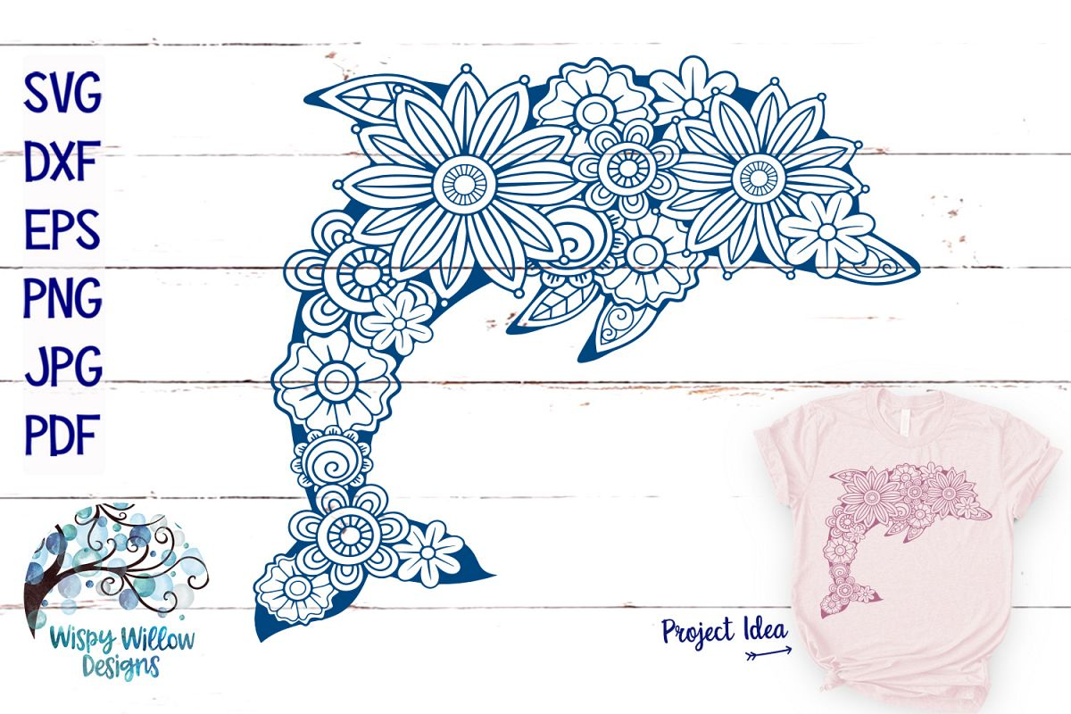 Floral Dolphin SVG | Summer SVG | Beach SVG Cut File example image 1