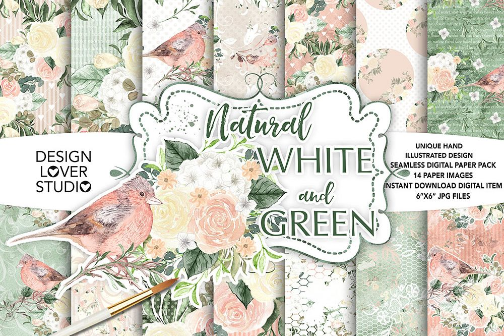 Watercolor roses white and green digital paper pack example image 1