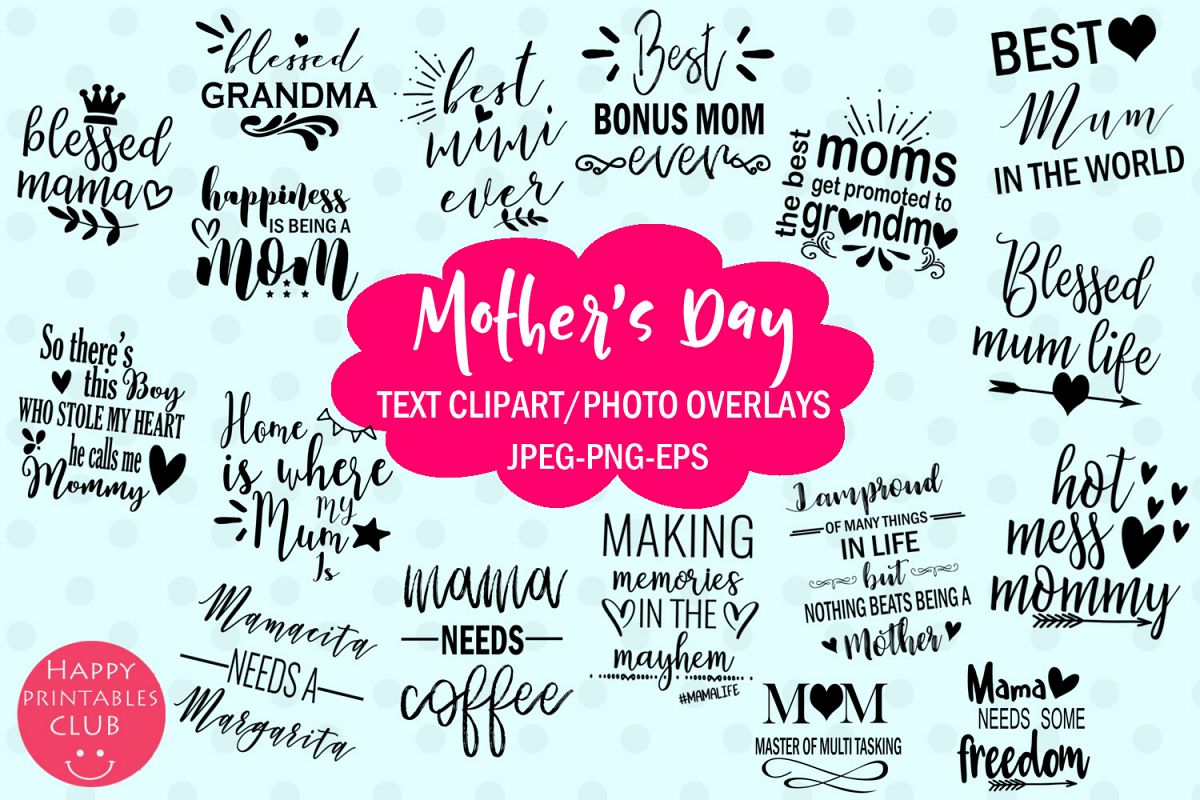 Mother's Day Text Clipart-Photo Overlays-Word Art Graphics example image 1
