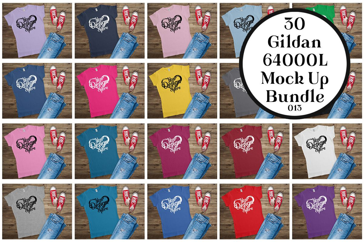 Gildan 64000L Ladies T-Shirt Mockup Bundle Flat Lay example image 1