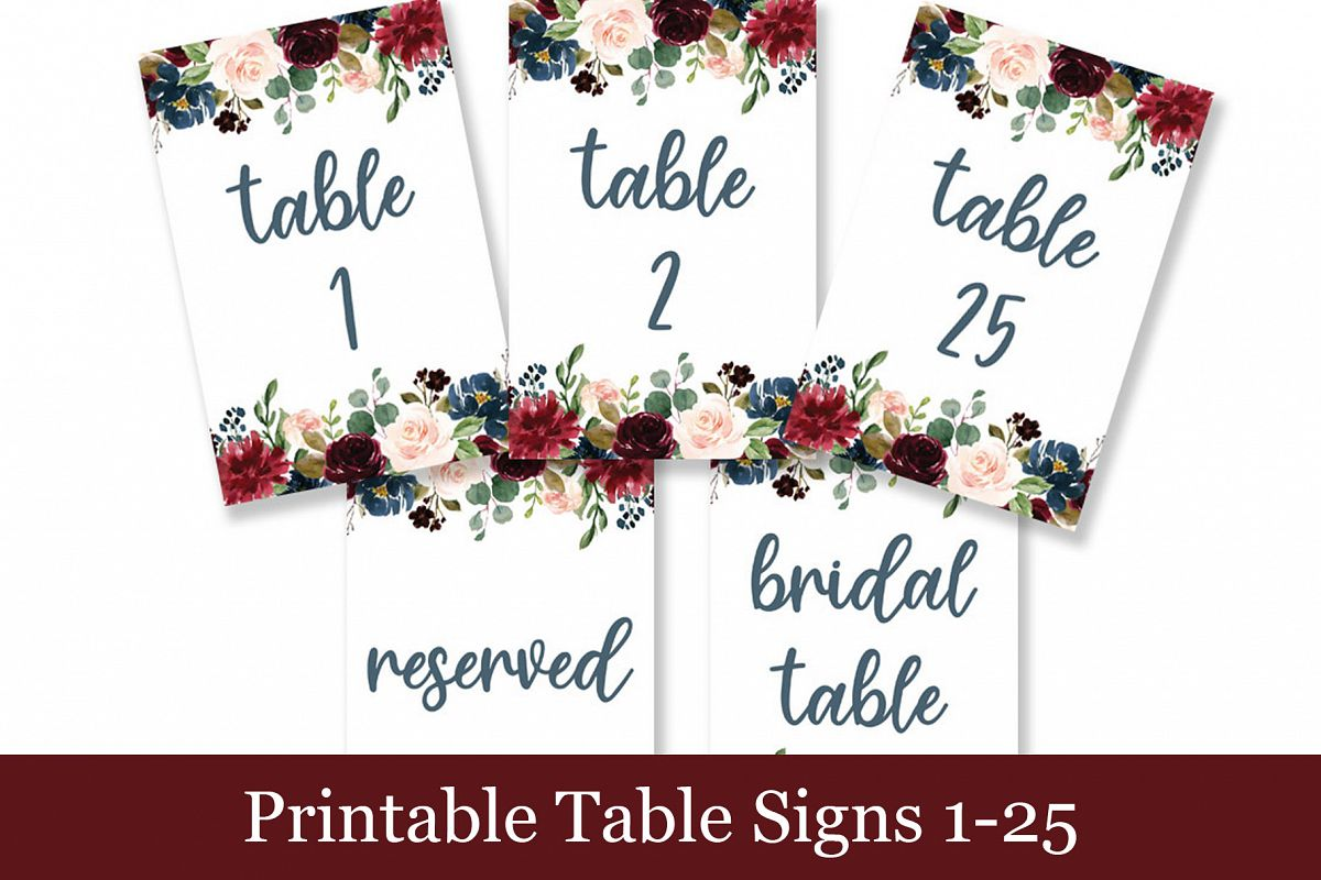 graphic about Wedding Signs Printable known as Maroon Floral Desk Figures, Printable Wedding day Symptoms