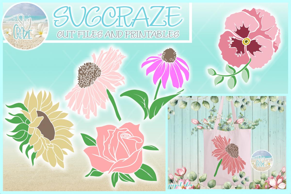 Flower Bundle SVG DXF Rose Sunflower Daisy Cone Pansy