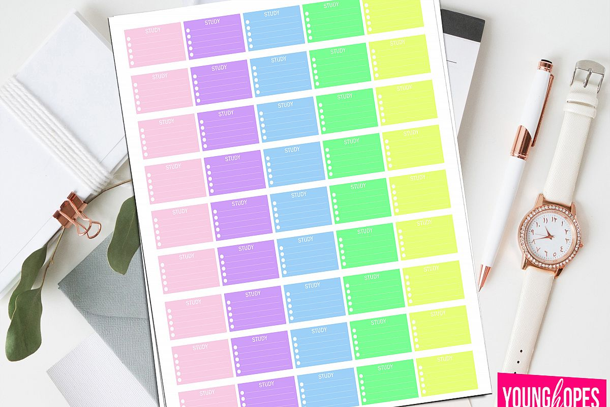 Study Half Box Planner Stickers-Student Planner Stickers example image 1