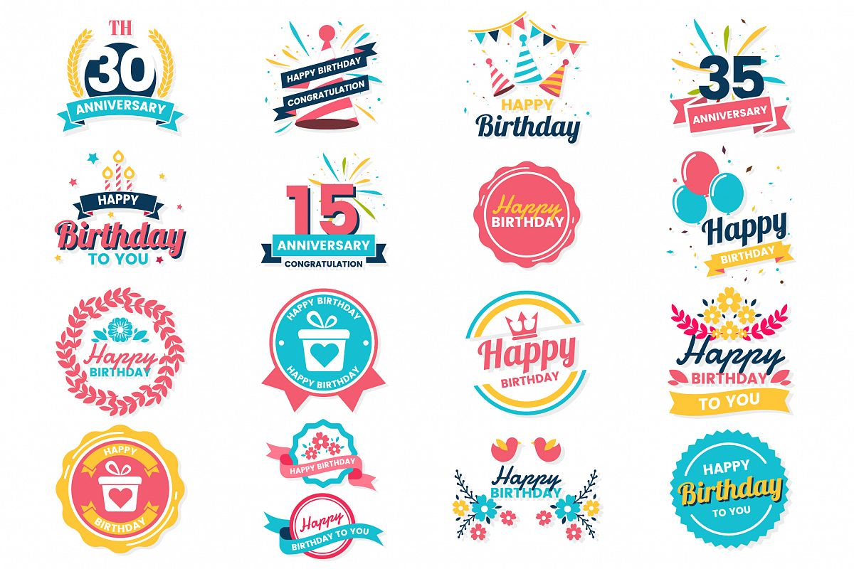 Happy Birthday Badge & Objects Vector Set example image 1