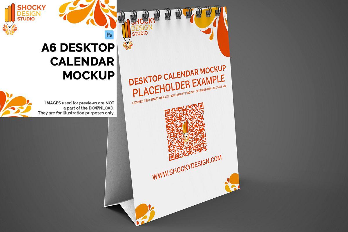 Desktop Calendar A6 Mockup example image 1