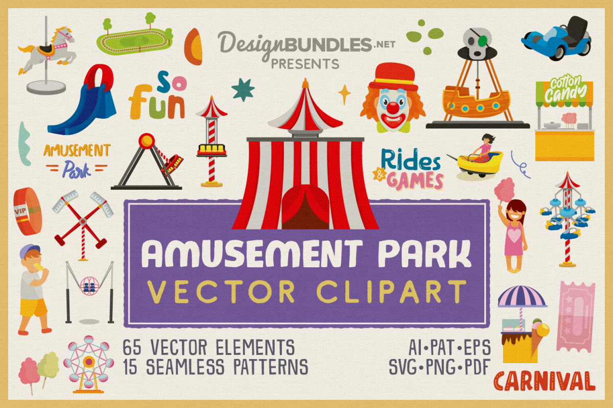 Amusement Park Vector Clipart and Seamless Pattern example image 1