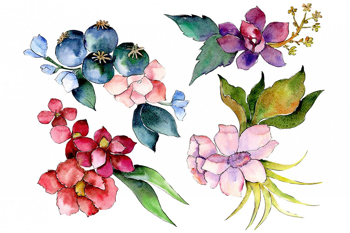 Bouquet of tropical colorful flower PNG watercolor example image 1
