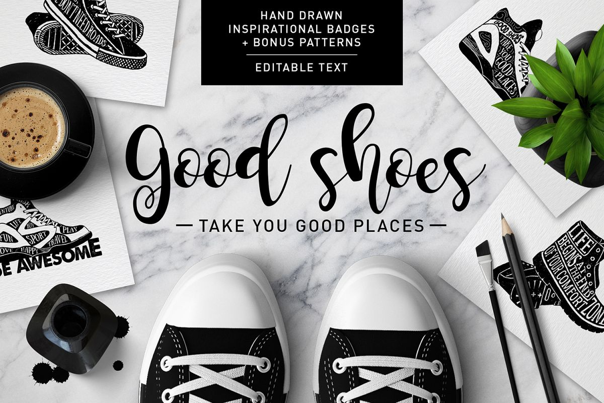 Good Shoes. 8 Inspirational Badges example image 1