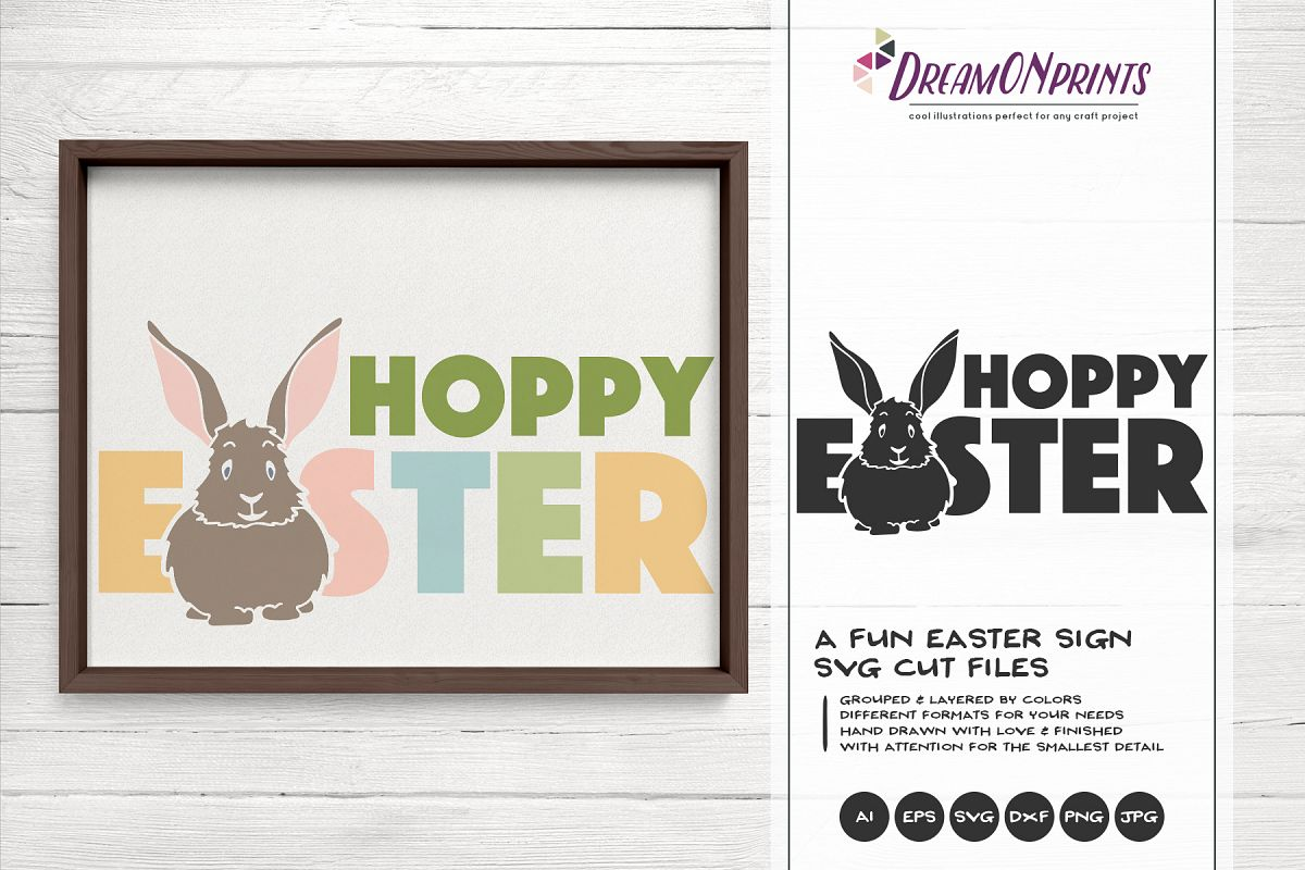 Hoppy Easter SVG - Fun Easter Sign - Easter Bunny SVG example image 1