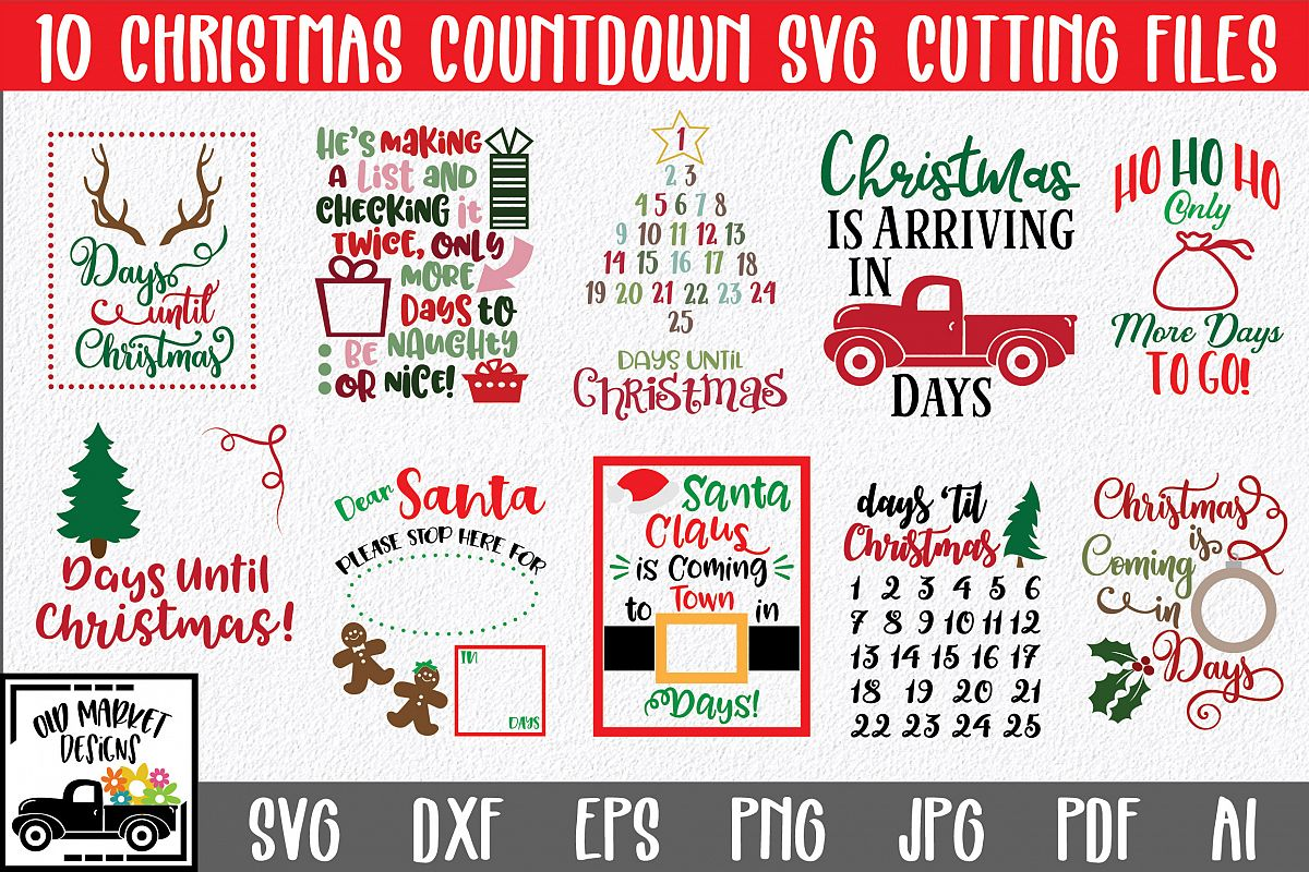 Christmas SVG Bundle with 10 Christmas Countdown Cut Files example image 1