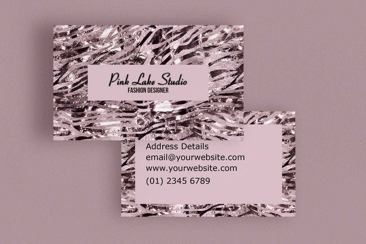 Glitzy pink zebra print business card t design bundles glitzy pink zebra print business card template example image reheart Images