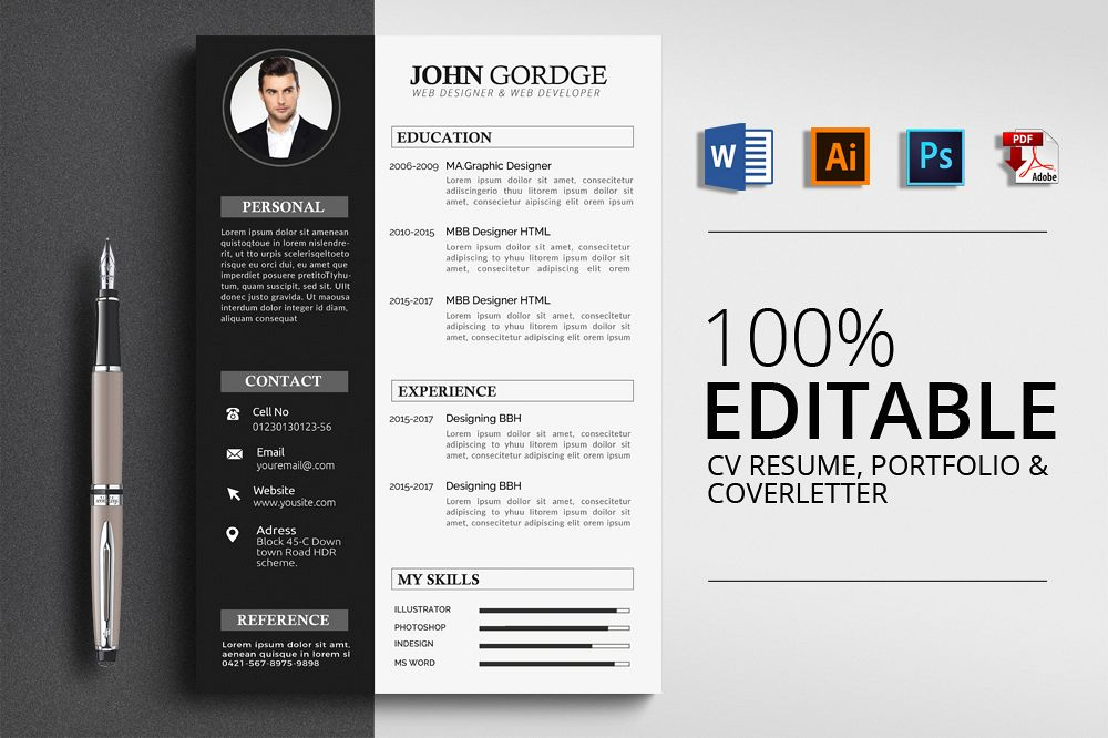 cv resume corporate design templates