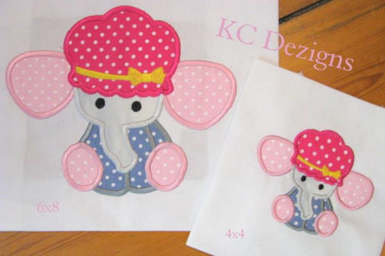 Baby Elephant With Hat Machine Applique Embroidery Design example image 1