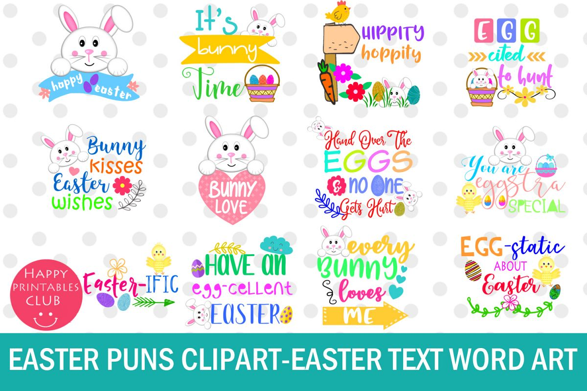 Easter Word Art Clipart-Easter Puns-Easter Graphics Clipart example image 1