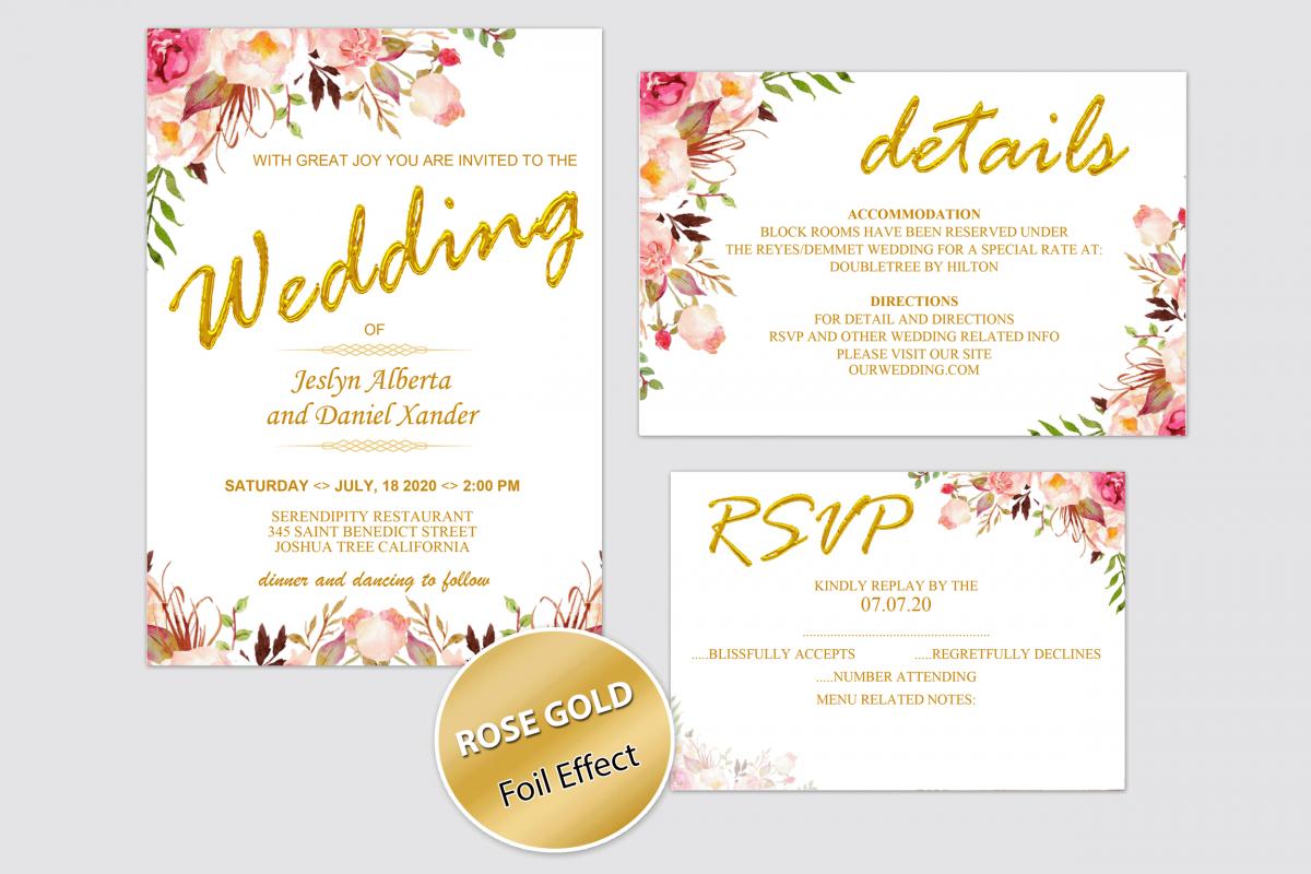 Wedding Invitation Template, Blush Rose Gold invitation example image 1