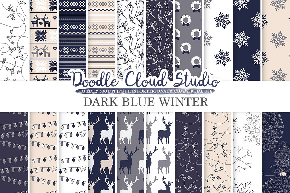 Dark Navy Blue Cream Gray Winter digital paper, Christmas Holiday patterns, Stars Snow deers X-mas backgrounds, Personal & Commercial Use example image 1