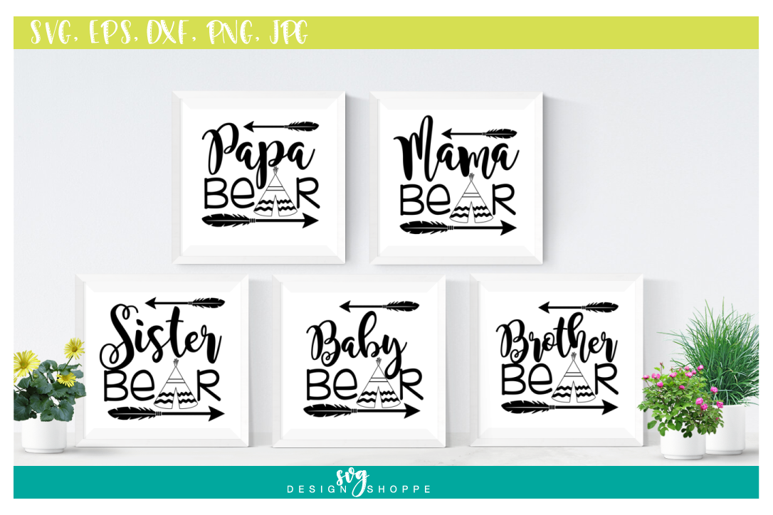 SVG Bundle, Papa Bear SVG Files, Mama Bear, Sister Bear, Baby Bear, Brother Bear, SVG files for Cricut, SVG for Silhouette, Commercial Use example image 1