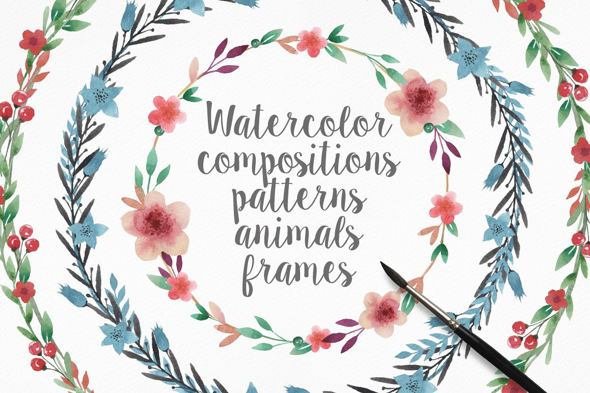 Watercolor Frames, Patterns and Animals example image 1