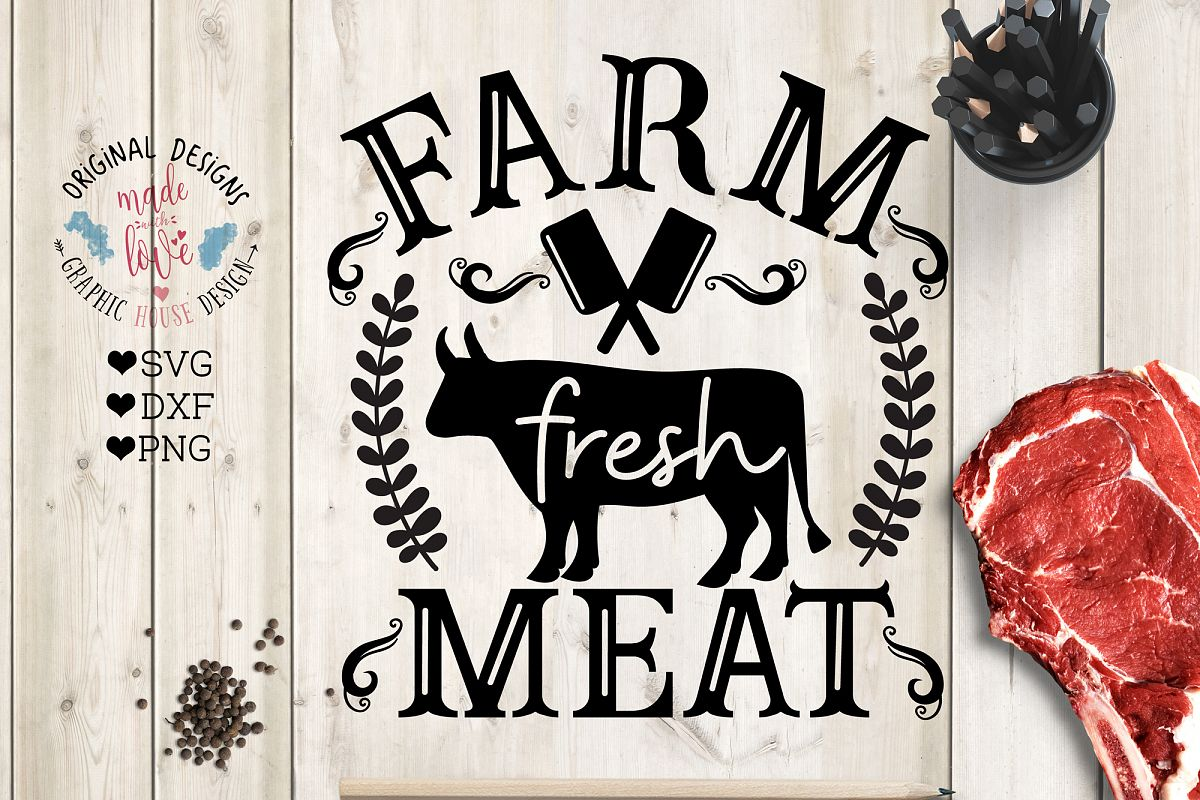 Farm Fresh Meat Cut File and Printable example image 1