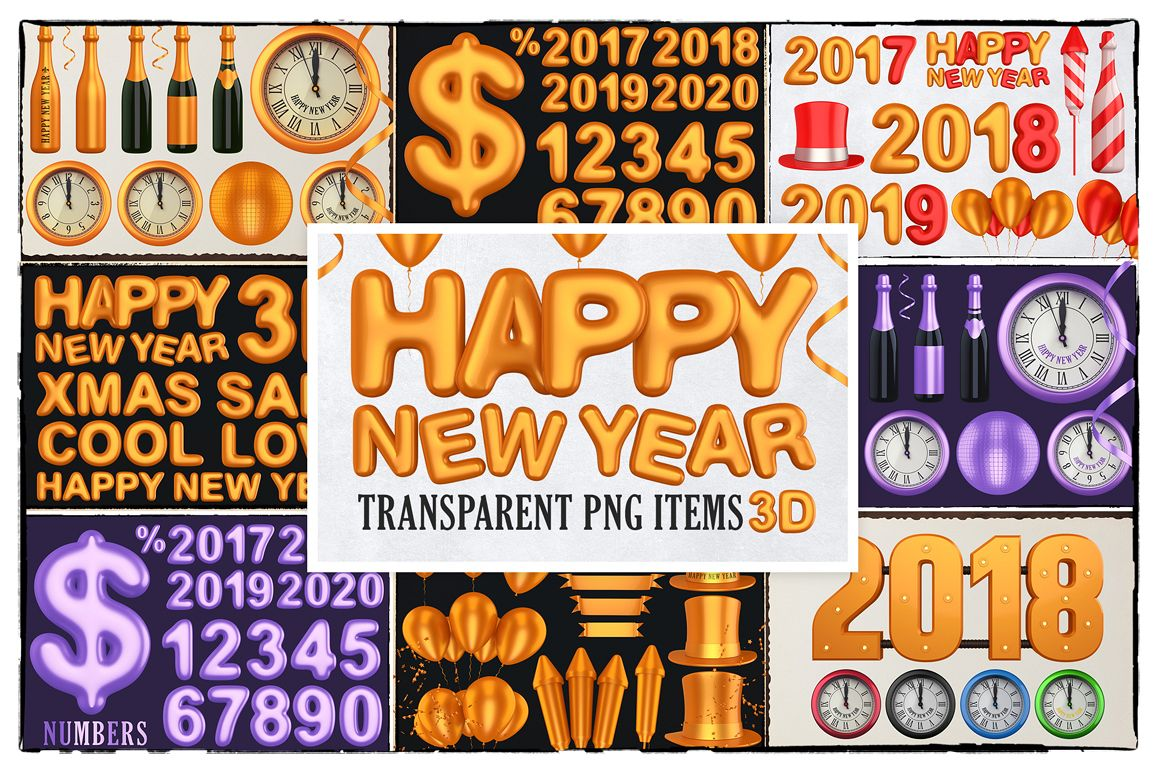 New Year 3D PNG Items Pack example image 1