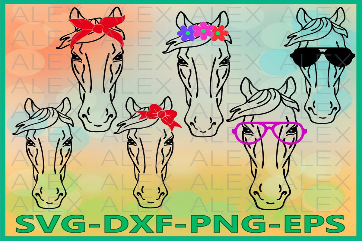Horse Svg Files, Horse with Bandana svg, Horse face svg example image 1