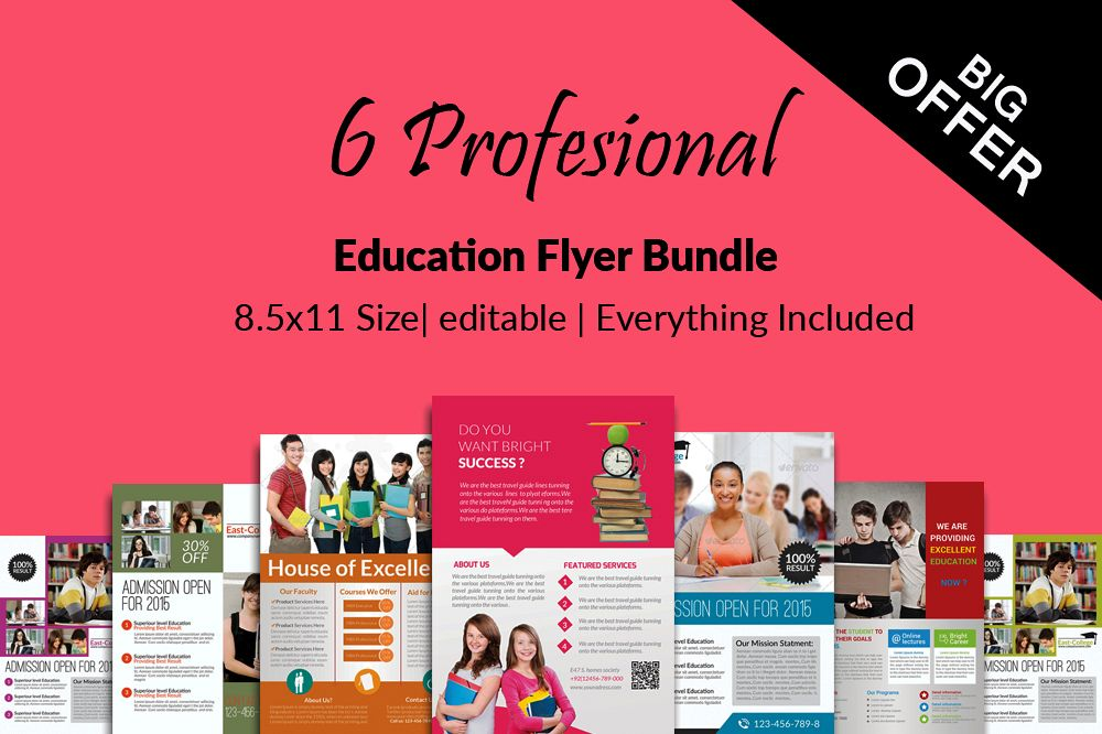 6 Education Flyers Bundle example image 1