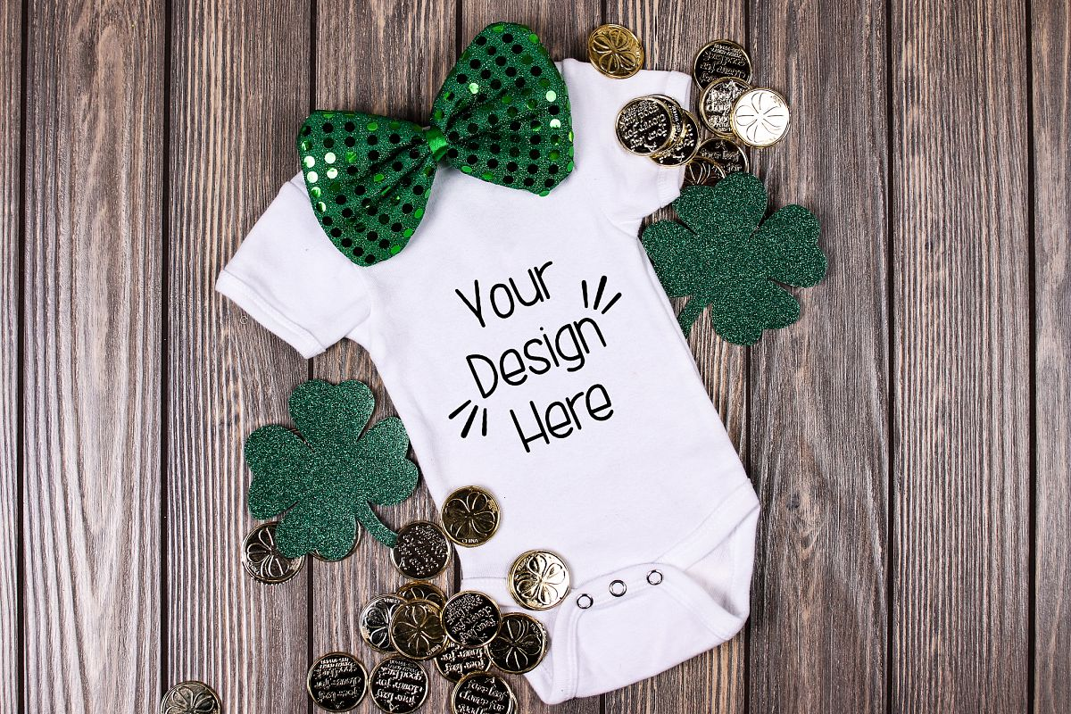 March Baby Suit Mockup 4| St Patricks Day Baby shirt Mockup example image 1