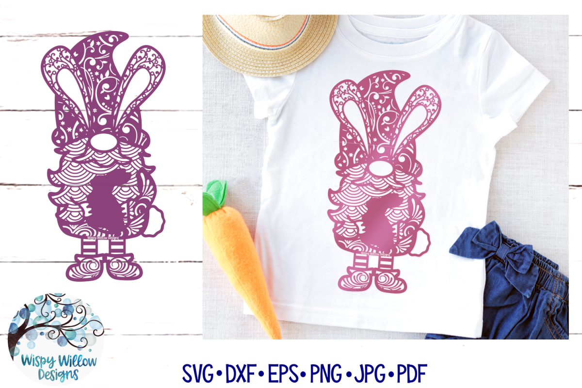 Easter Gnome Zentangle SVG   Gnome Mandala SVG example image 1