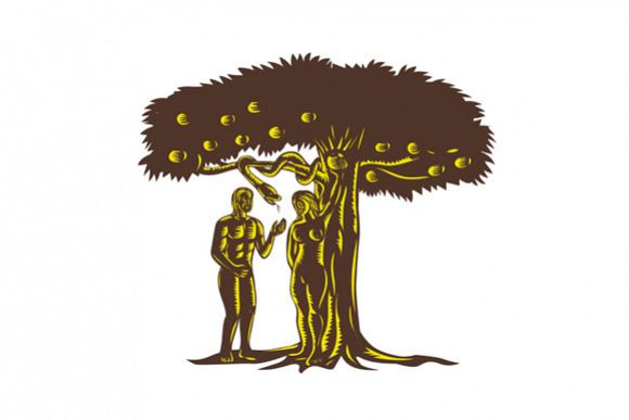 Adam and Eve Apple Serpent Woodcut example image 1