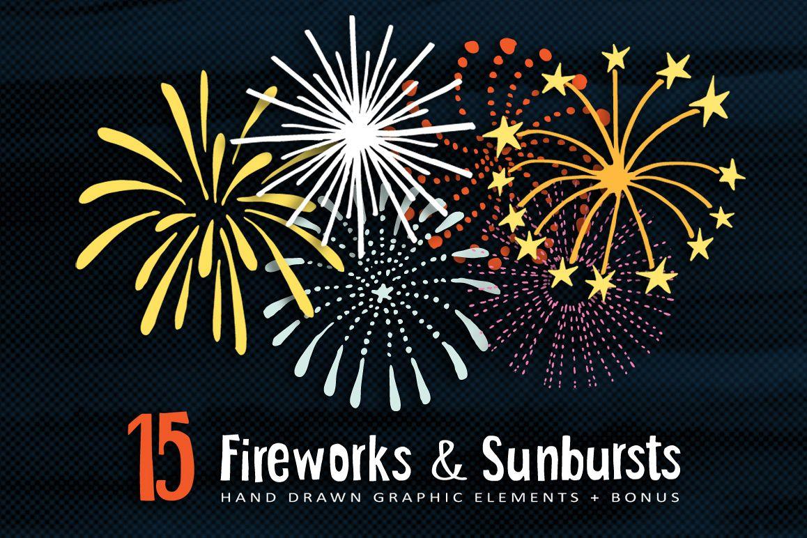 Hand drawn Fireworks & Sunbursts set example image 1