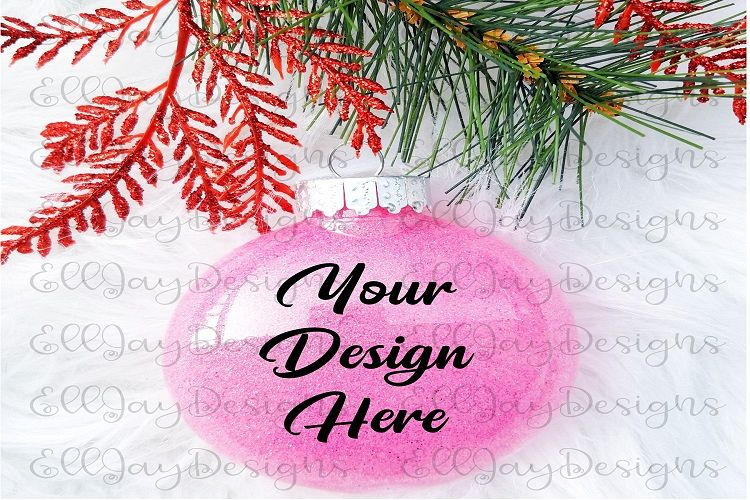 Pink Christmas Glitter Ornament Mock up example image 1