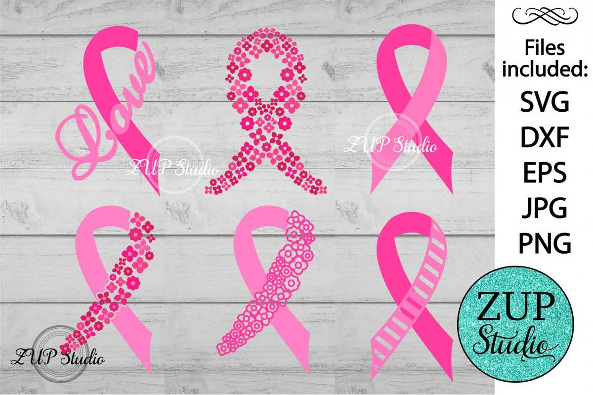 Breast Cancer Ribbon cutting files svg 5 example image 1