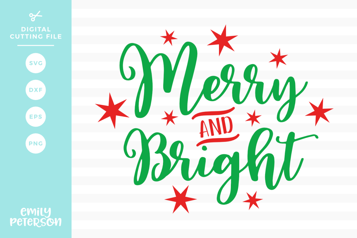 Merry and Bright SVG DXF EPS PNG example image 1