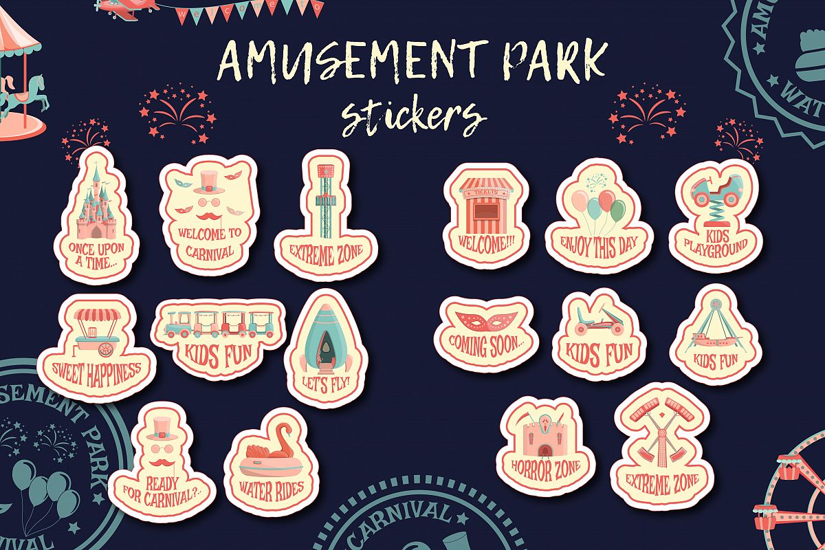 Amusement park stickers collection. example image 1