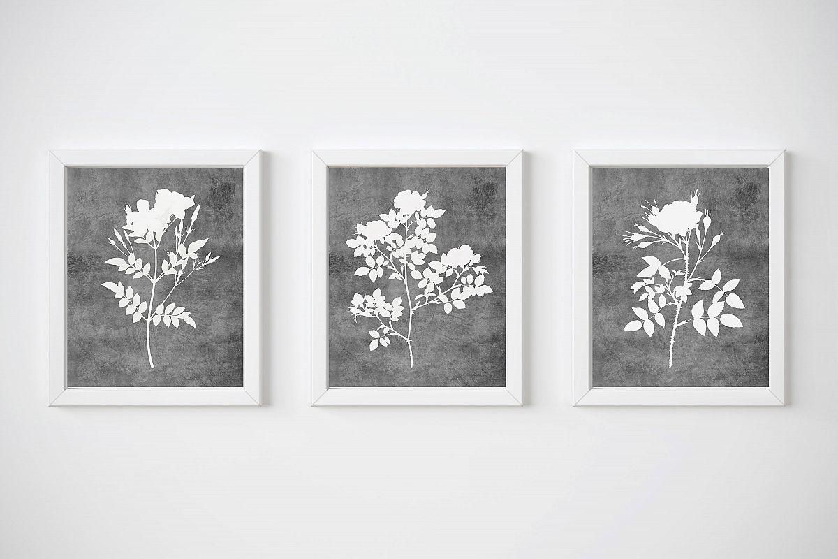 Grey Botanical Prints, Flowers Wall Art Print, Watercolor example image 1