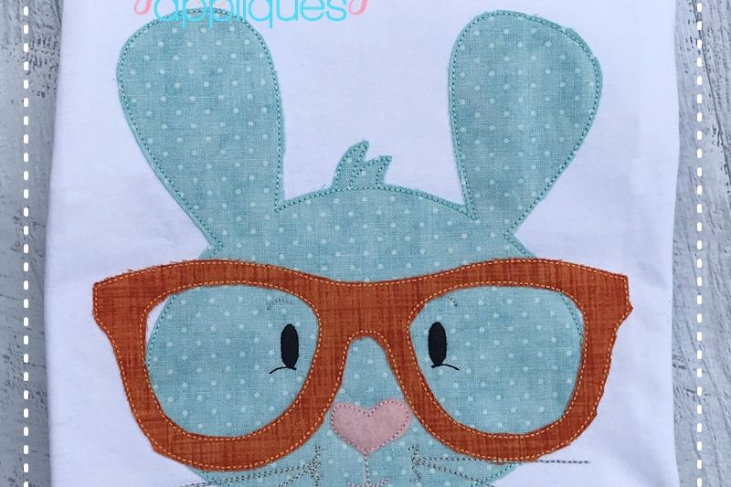 Bunny With Glasses Boy 4x4, 5x7, 6x10, 8x8 example image 1