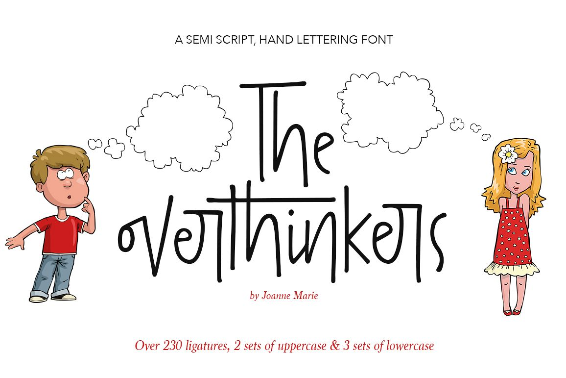The overthinkers hand lettering font example image 1