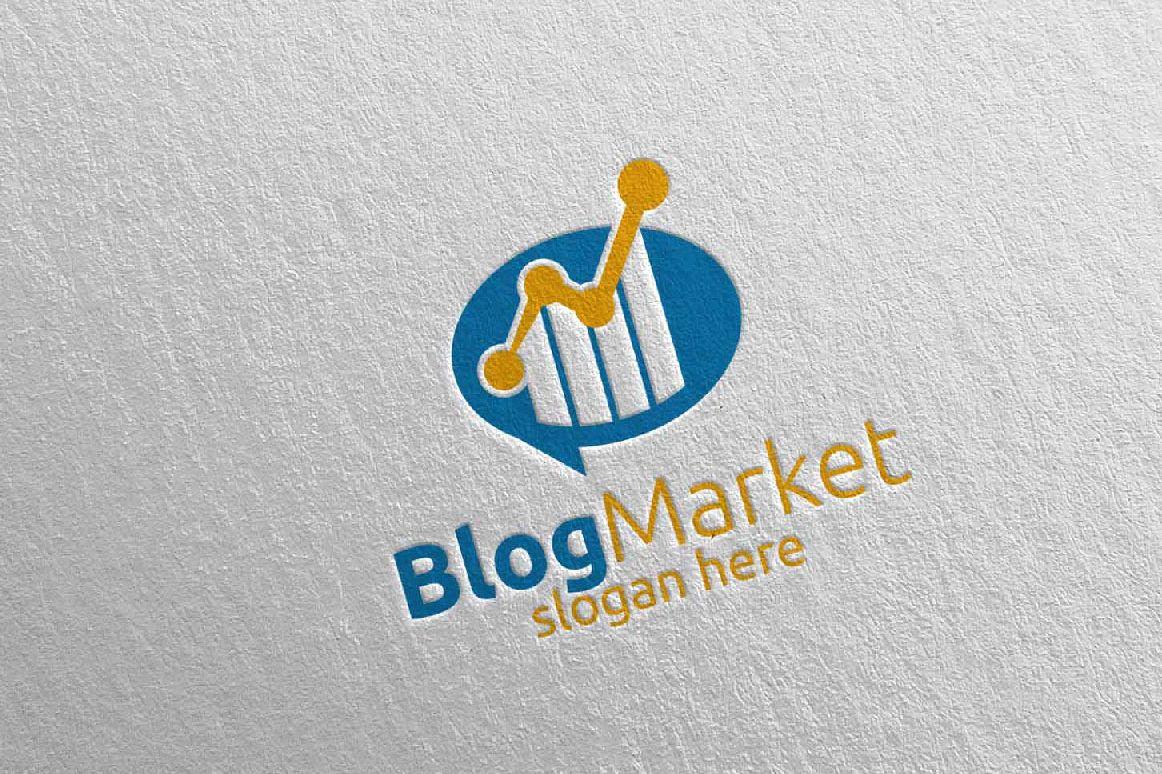 Blog Marketing Financial Advisor Logo Design Template 15 example image 1