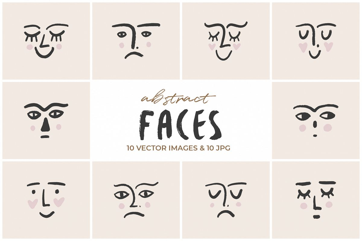 Vector abstract faces set example image 1