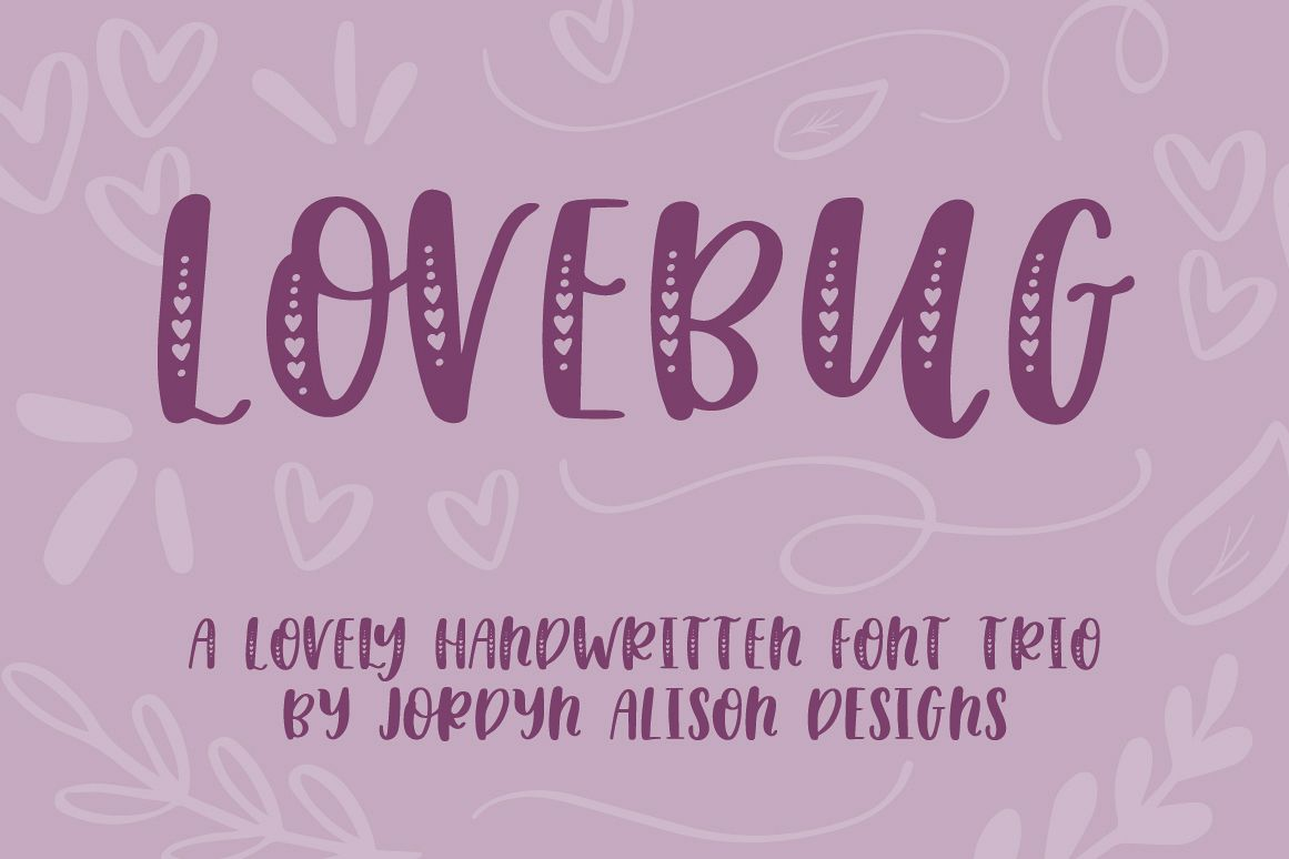 Lovebug Hand Lettered Font Trio, Valentine's Heart Font example image 1