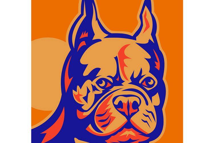 French Bulldog head portrait retro example image 1