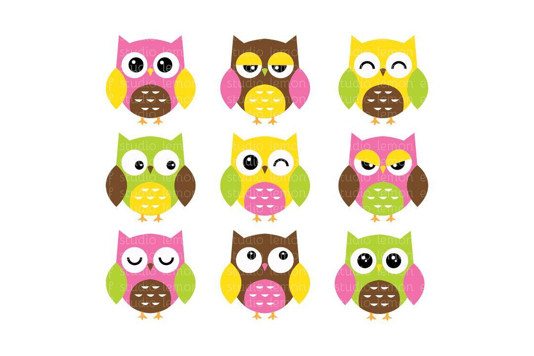 Expressive Owls-Digital Clipart (LES.CL02B) example image 1