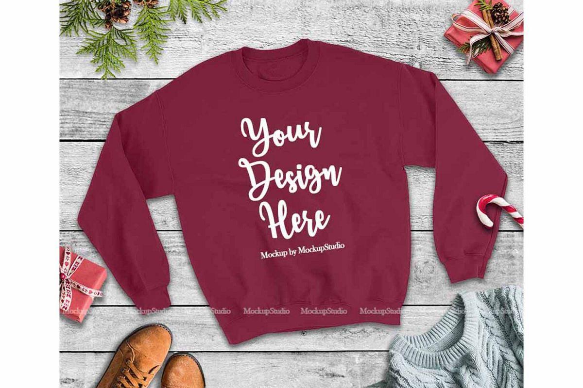 Christmas Winter Party Maroon Unisex Sweatshirt Mock Up example image 1