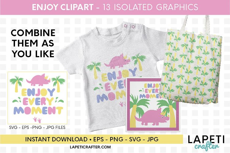 Enjoy every moment printable quote, pink dinosaur printable example image 1