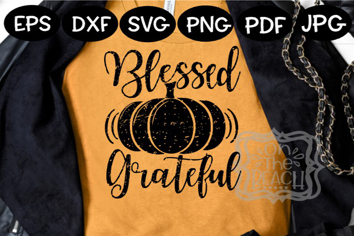 Thanksgiving - Grateful Blessed Pumpkin Distressed holiday example image 1